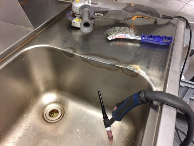 Mobile on site stainless steel kitchen sink welding repairs